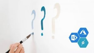 question marks on wall depicting question of azure vs sharepoint
