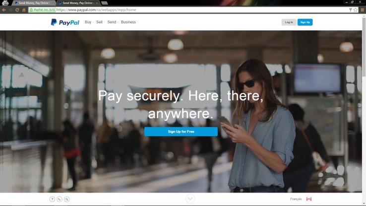 Screenshot of the real aPayPal website