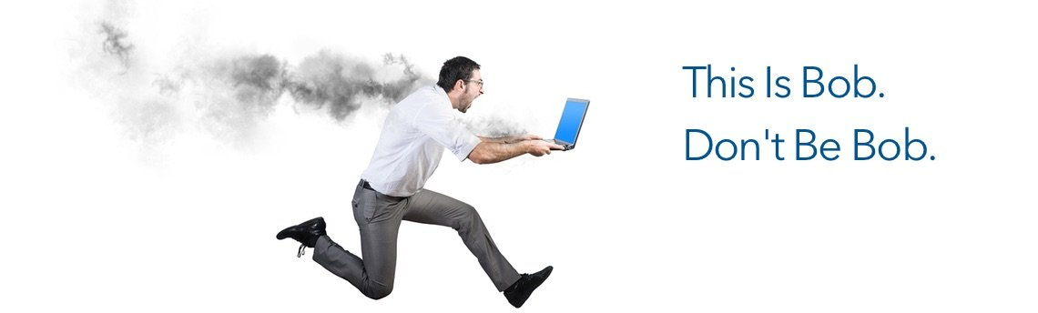 concept for regular computer maintenance and managed IT Services - man running for help for his smoking laptop