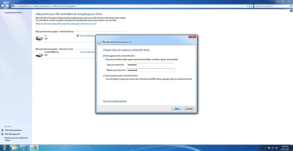 Bitlocker after restart screenshot