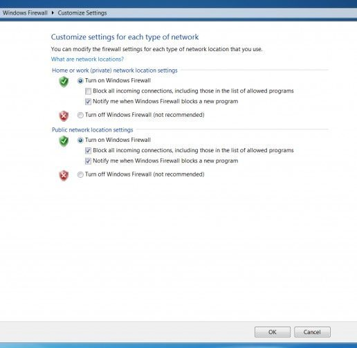 screenshot - allowing windows firewall on public or private networks