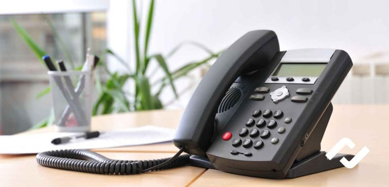 VoIP phone on business desk