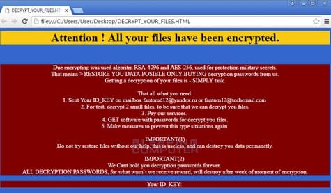 Fantom Ransomware screenshot