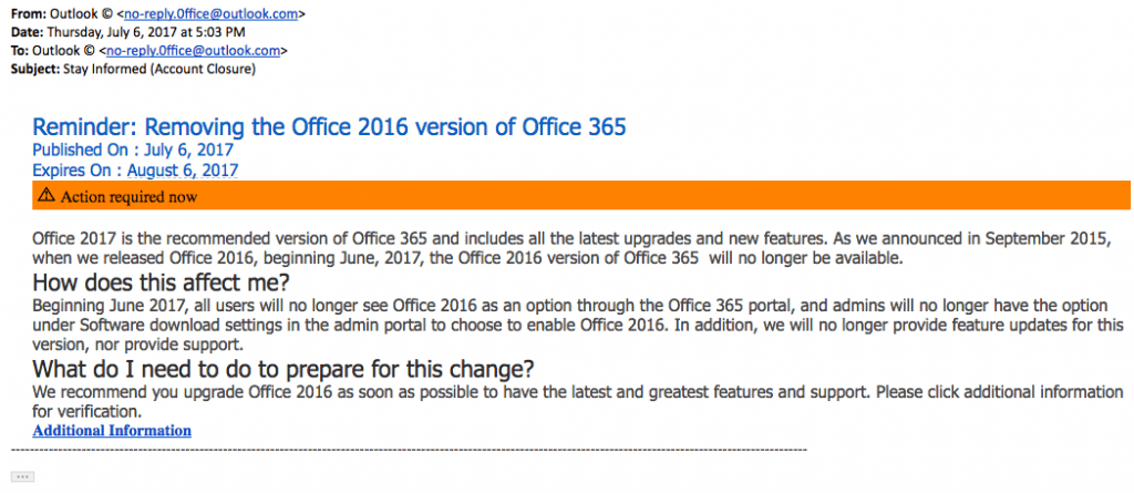 microsoft office phishing email screen shot