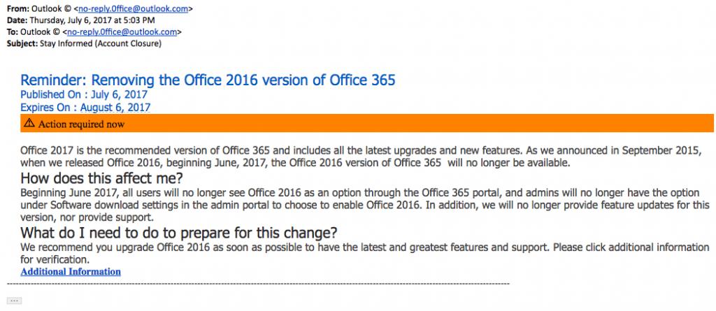 microsoft office phishing email screen shot
