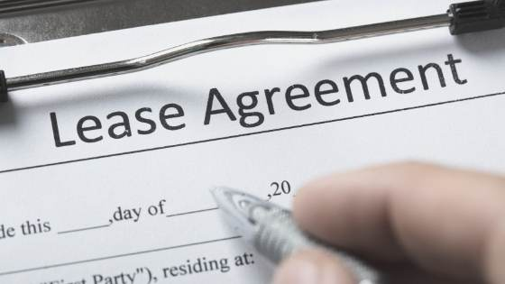 lease agreement form close up
