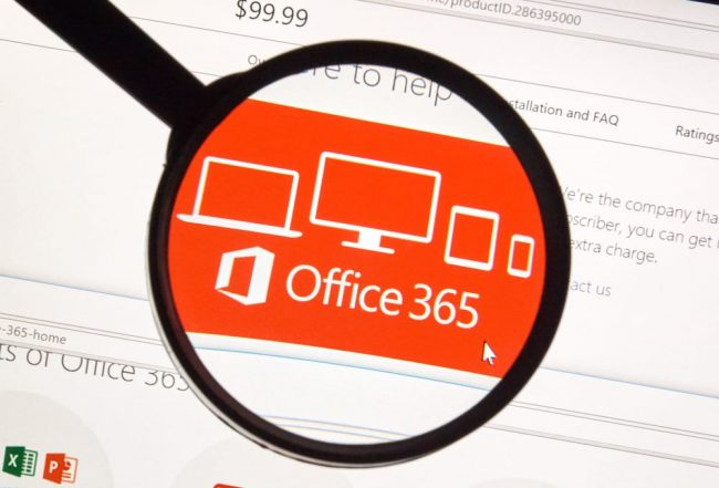 Office 365 logo under magnifying glass