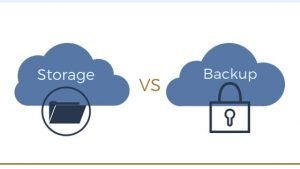 cloud storage versus cloud backup icons