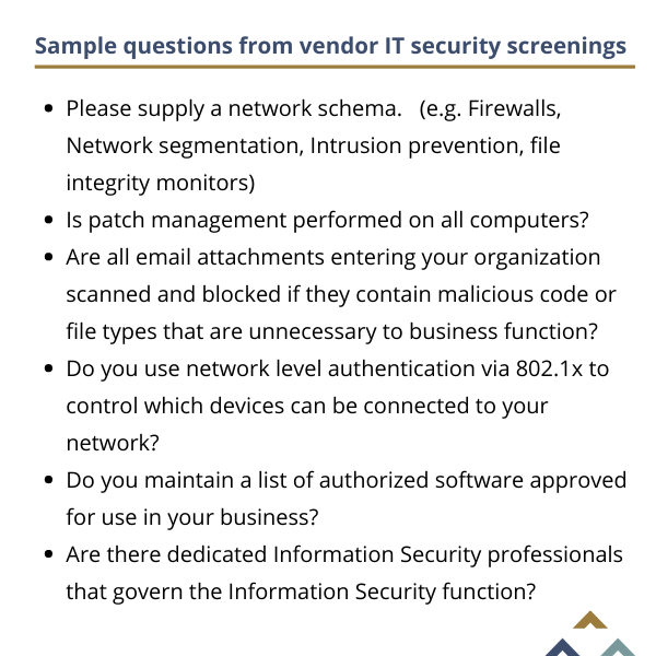 Sample questions from vendor IT security questionnaire