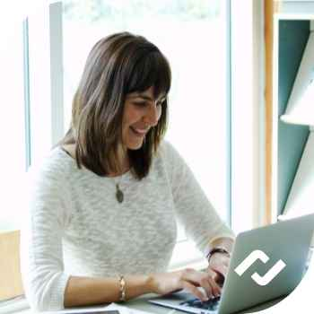 woman working on secure managed computer 1